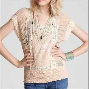 Free People Peach lace Sheer Top Size M